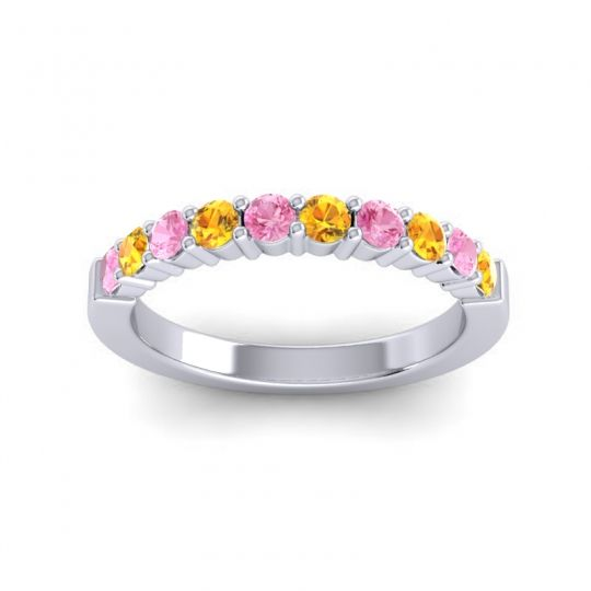Citrine Classic Ardha Band with Pink Tourmaline in 18k White Gold