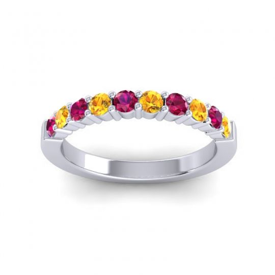 Citrine Classic Ardha Band with Ruby in Platinum
