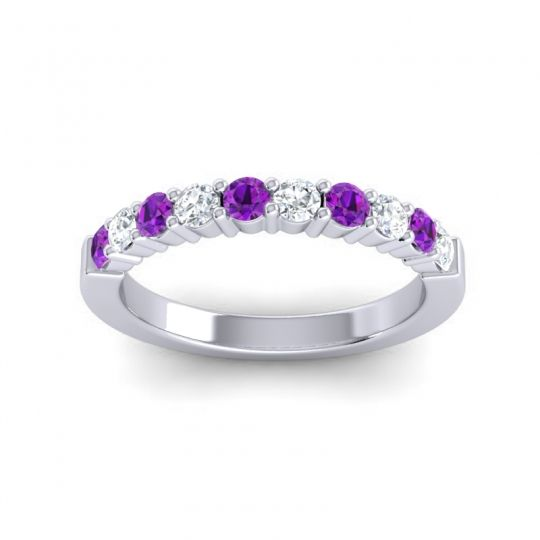 Classic Ardha Diamond Band with Amethyst in Platinum