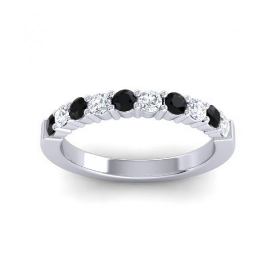 Diamond Classic Ardha Band with Black Onyx in 14k White Gold