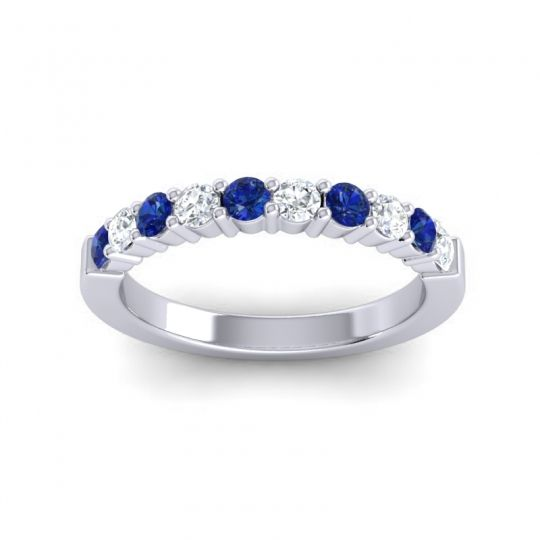 Diamond Classic Ardha Band with Blue Sapphire in 14k White Gold