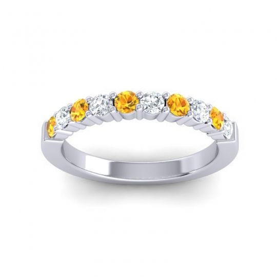 Diamond Classic Ardha Band with Citrine in 14k White Gold