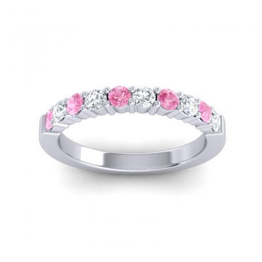 Classic Ardha Diamond Band with Pink Tourmaline in 14k White Gold