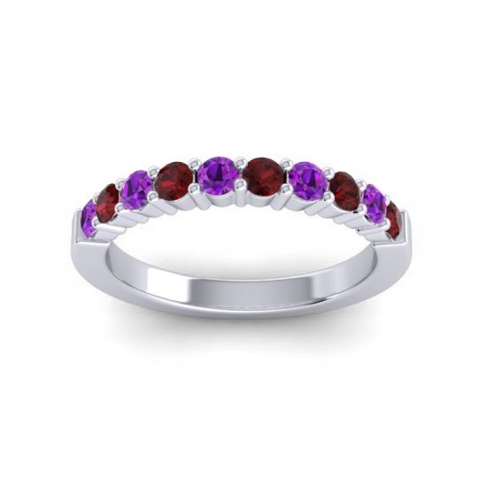 Garnet Classic Ardha Band with Amethyst in 14k White Gold