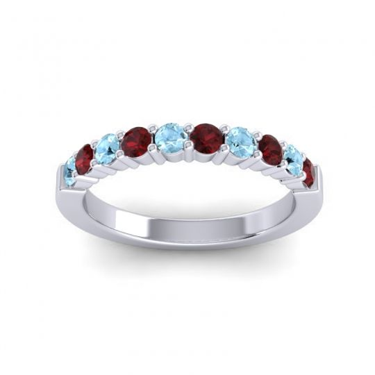 Garnet Classic Ardha Band with Aquamarine in 18k White Gold