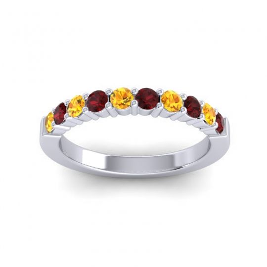 Garnet Classic Ardha Band with Citrine in 14k White Gold