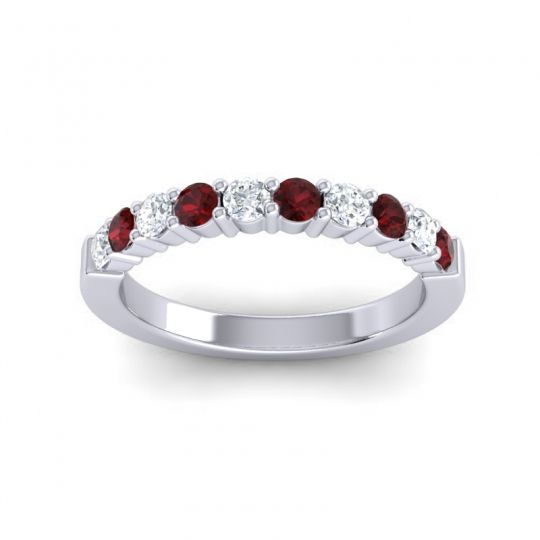 Classic Ardha Garnet Band with Diamond in 14k White Gold