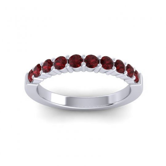 Garnet Classic Ardha Band in Platinum