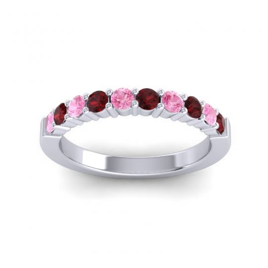 Classic Ardha Garnet Band with Pink Tourmaline in 14k White Gold