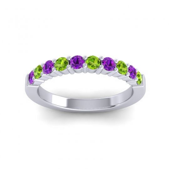 Peridot Classic Ardha Band with Amethyst in 18k White Gold
