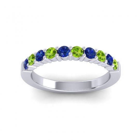 Peridot Classic Ardha Band with Blue Sapphire in 14k White Gold