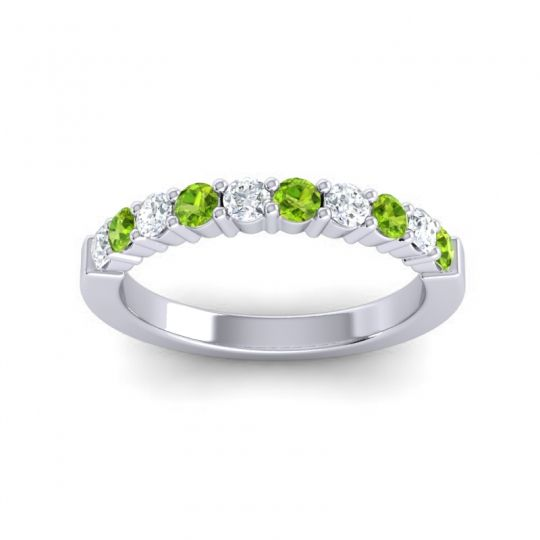 Peridot Classic Ardha Band with Diamond in 18k White Gold