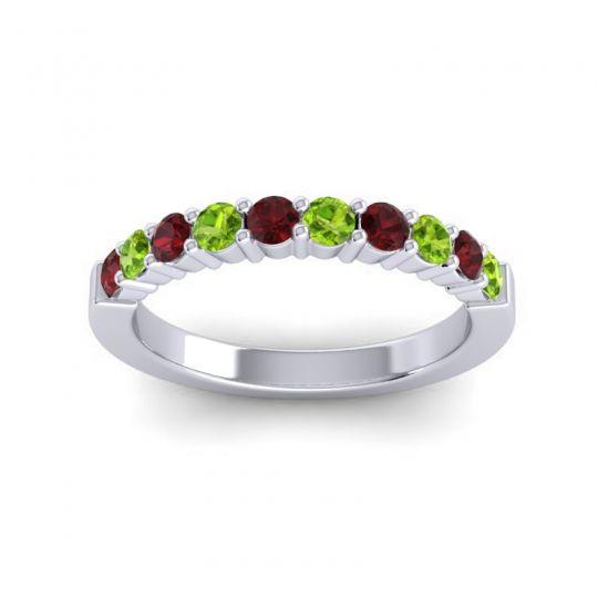 Peridot Classic Ardha Band with Garnet in 18k White Gold