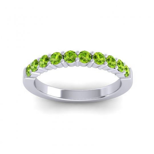 Peridot Classic Ardha Band in Palladium