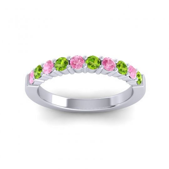 Peridot Classic Ardha Band with Pink Tourmaline in 18k White Gold