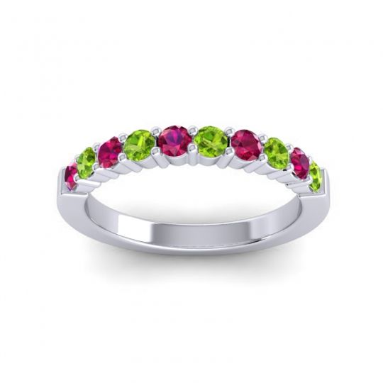 Peridot Classic Ardha Band with Ruby in 14k White Gold