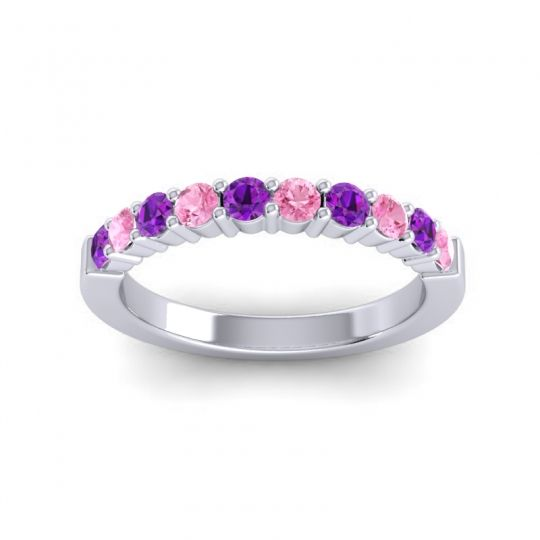 Pink Tourmaline Classic Ardha Band with Amethyst in Platinum