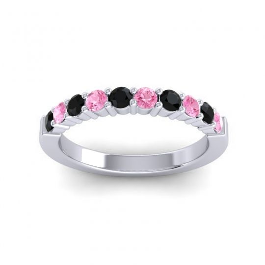 Pink Tourmaline Classic Ardha Band with Black Onyx in 18k White Gold