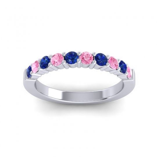 Pink Tourmaline Classic Ardha Band with Blue Sapphire in 14k White Gold