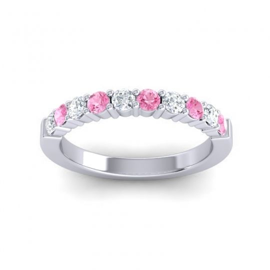 Pink Tourmaline Classic Ardha Band with Diamond in 14k White Gold