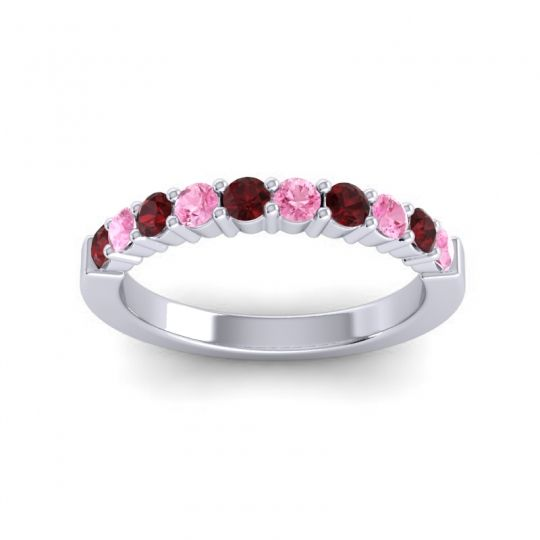 Pink Tourmaline Classic Ardha Band with Garnet in 14k White Gold