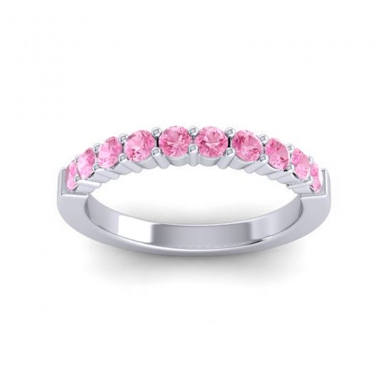 Pink Tourmaline Classic Ardha Band in Platinum