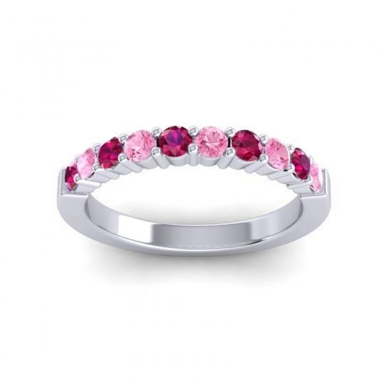 Pink Tourmaline Classic Ardha Band with Ruby in 14k White Gold
