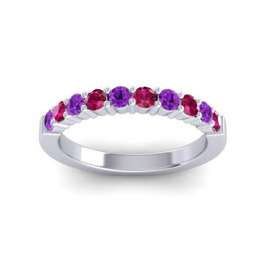 Ruby Classic Ardha Band with Amethyst in 14k White Gold