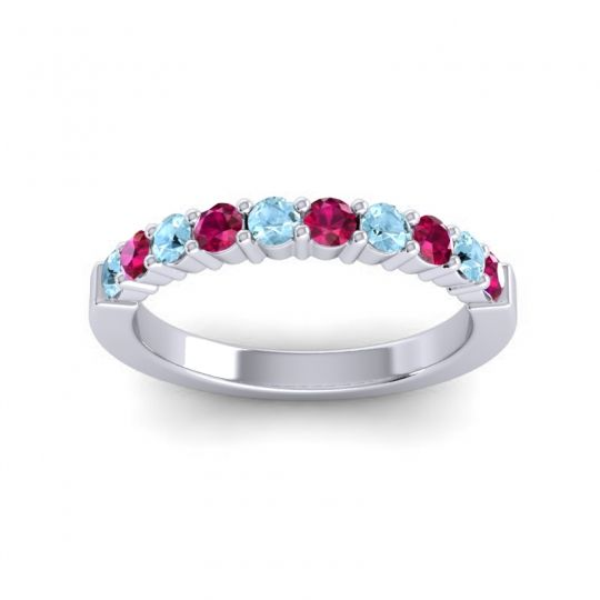Ruby Classic Ardha Band with Aquamarine in 14k White Gold