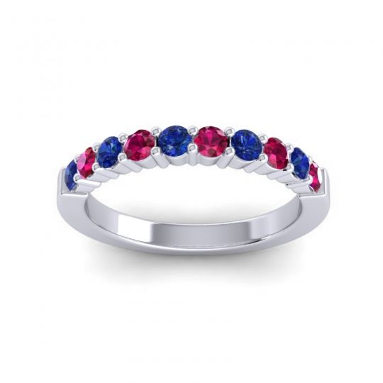 Ruby Classic Ardha Band with Blue Sapphire in 14k White Gold