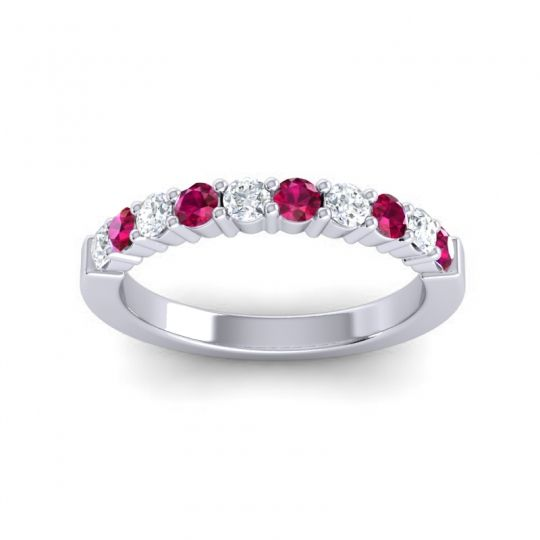 Ruby Classic Ardha Band with Diamond in 14k White Gold