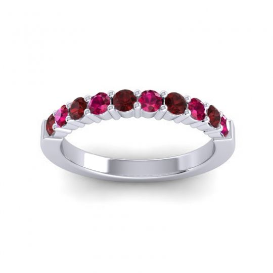 Classic Ardha Ruby Band with Garnet in Platinum