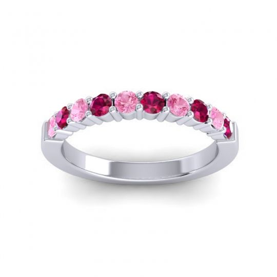 Ruby Classic Ardha Band with Pink Tourmaline in 14k White Gold