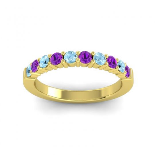 Amethyst Classic Ardha Band with Aquamarine in 18k Yellow Gold