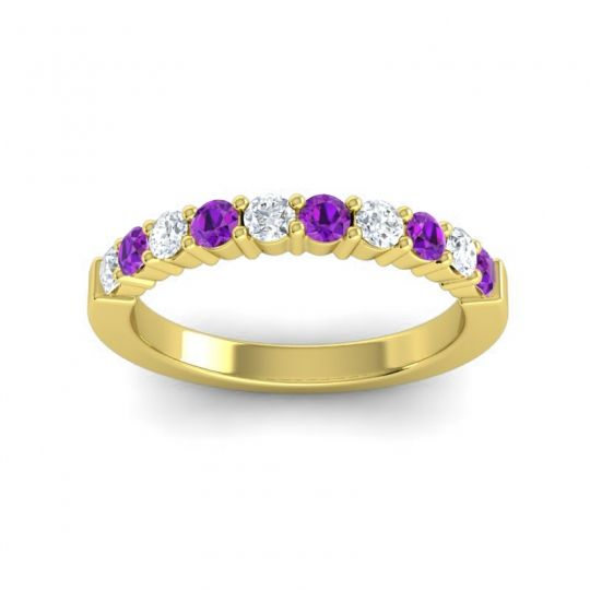 Amethyst Classic Ardha Band with Diamond in 14k Yellow Gold