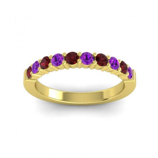 Amethyst Classic Ardha Band with Garnet in 14k Yellow Gold