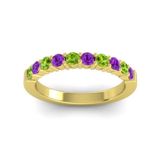 Amethyst Classic Ardha Band with Peridot in 14k Yellow Gold