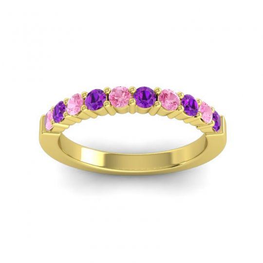Amethyst Classic Ardha Band with Pink Tourmaline in 18k Yellow Gold