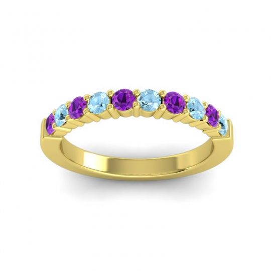 Aquamarine Classic Ardha Band with Amethyst in 18k Yellow Gold