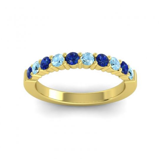 Aquamarine Classic Ardha Band with Blue Sapphire in 18k Yellow Gold