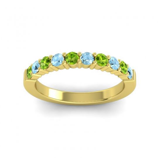 Aquamarine Classic Ardha Band with Peridot in 18k Yellow Gold