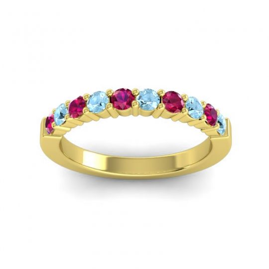 Aquamarine Classic Ardha Band with Ruby in 18k Yellow Gold