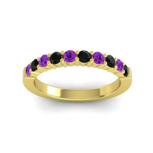 Black Onyx Classic Ardha Band with Amethyst in 14k Yellow Gold