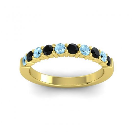 Black Onyx Classic Ardha Band with Aquamarine in 14k Yellow Gold