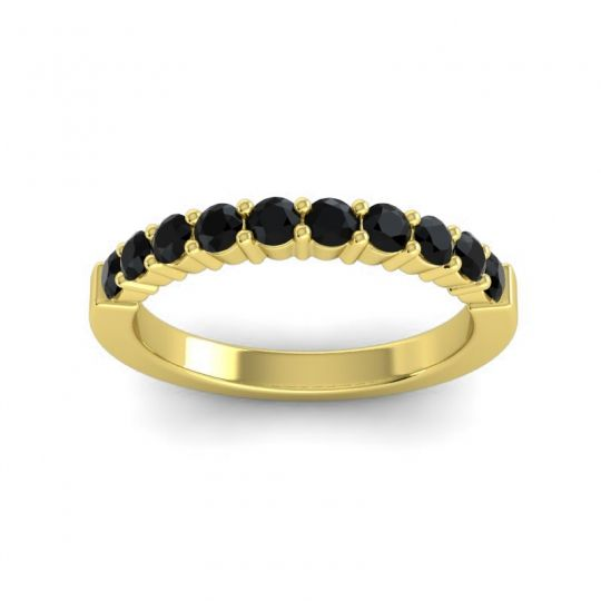 Black Onyx Classic Ardha Band in 14k Yellow Gold