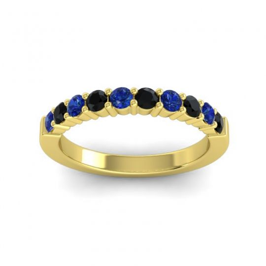 Classic Ardha Black Onyx Band with Blue Sapphire in 14k Yellow Gold