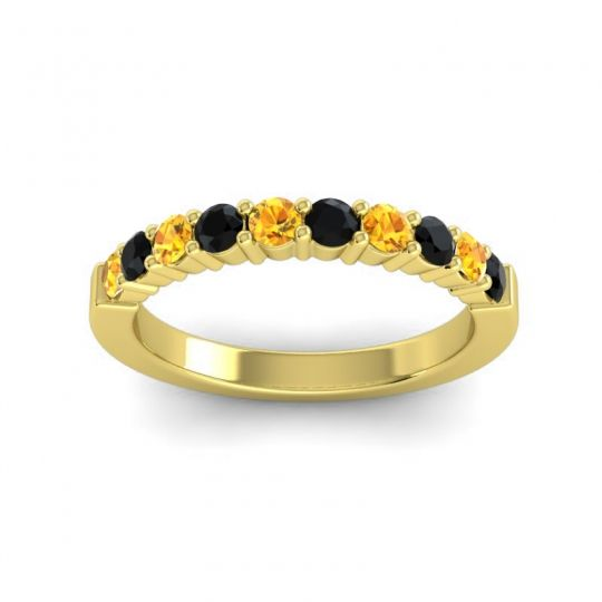 Black Onyx Classic Ardha Band with Citrine in 14k Yellow Gold