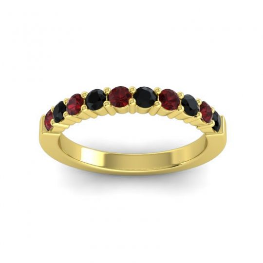 Classic Ardha Black Onyx Band with Garnet in 18k Yellow Gold