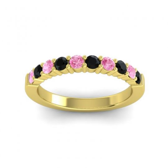 Black Onyx Classic Ardha Band with Pink Tourmaline in 14k Yellow Gold
