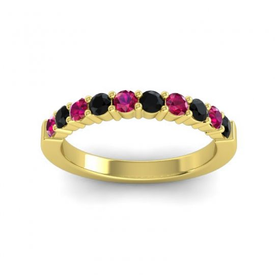 Classic Ardha Black Onyx Band with Ruby in 14k Yellow Gold